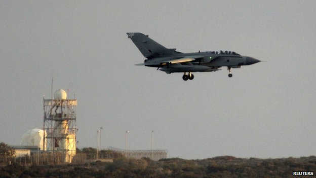 An RAF Tornado jet landing in Cyprus
