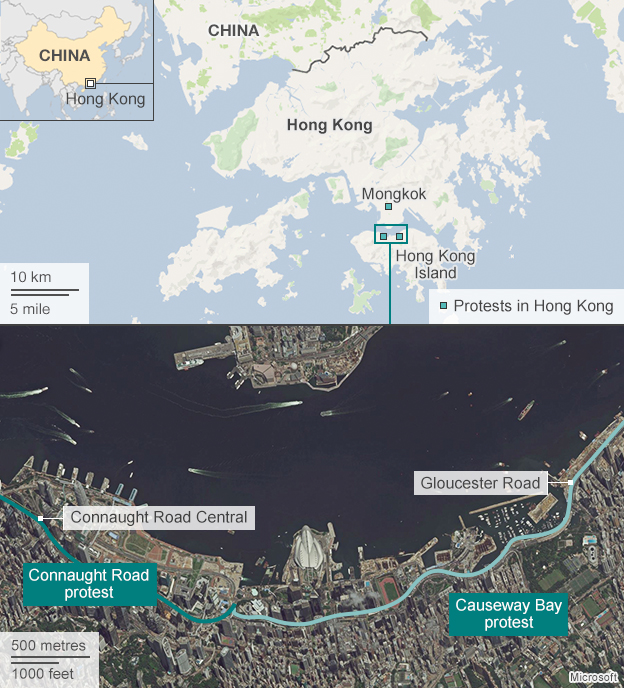 Map showing location of Hong Kong protests