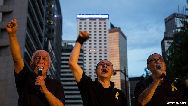 Benny Tai with fellow democracy activists