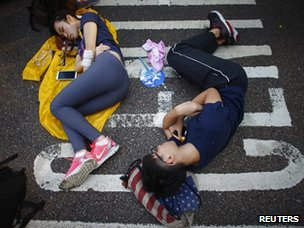 Hong Kong people sleeping on the street