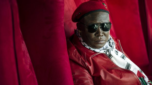 Julius Malema before addressing a crowd of supporters in Soweto 27 September 2014