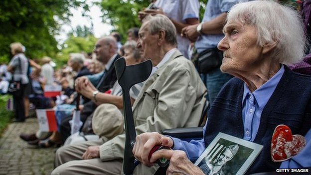 People who fought in the Warsaw Uprising at a ceremony in the Polish capital