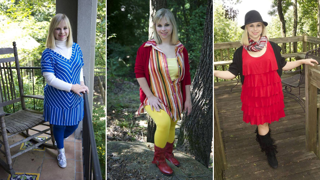 Ashley modelling a selection of her designs
