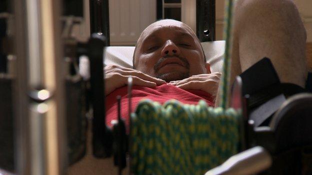 Darek undergoing physiotherapy