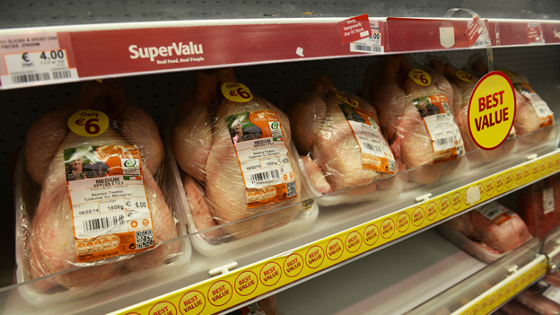 Chicken on supermarket shelf