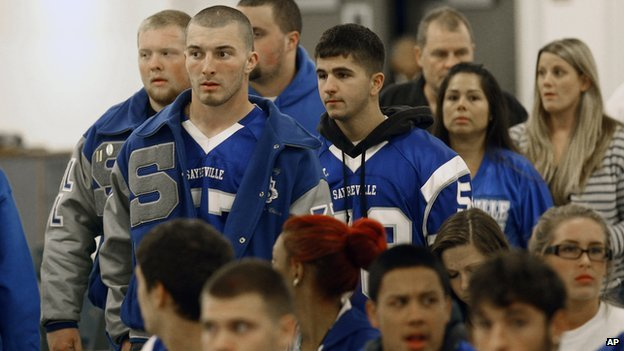 Sayreville, NJ, high school football players attend a board of education meeting the day after their season was cancelled.