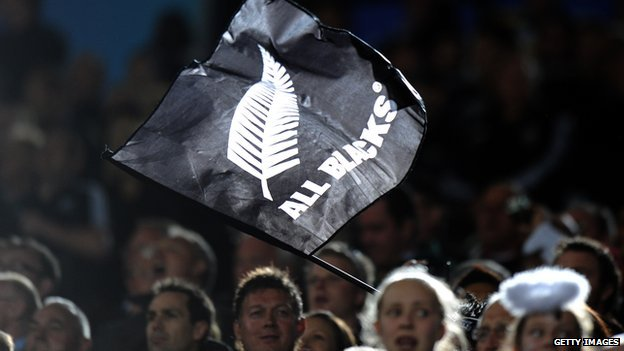Photo illustrating the BBC story, showing the silver fern flag of the New Zealand All Blacks football club -- Getty Images