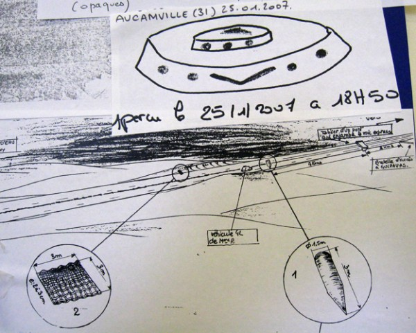 Sketches of a UFO seen near Aucamville