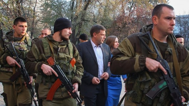 Alexander Zakharchenko (centre) and his bodyguards in Donetsk. Photo: 2 November 2014