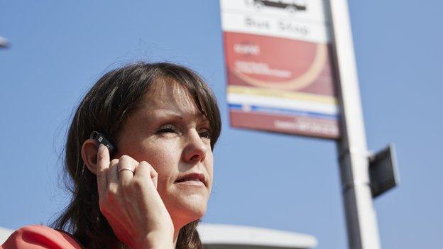 Lady wearing a headset