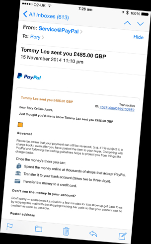 """Fake eBay email sent to Rory by the scammer - headline reads """"Tommy sent you £485.00 GBP"""