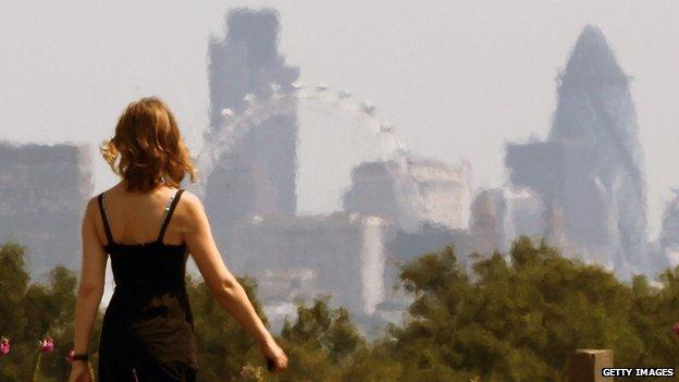 London skyline shimmers in heat