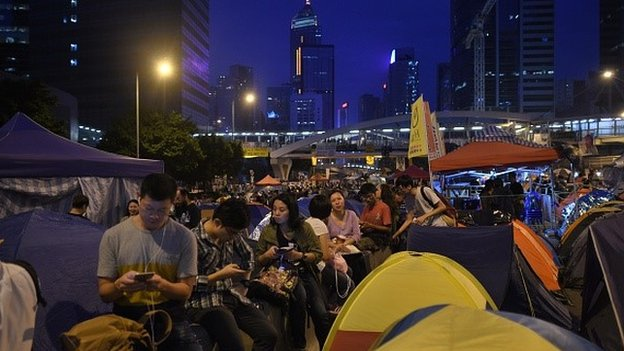 Demonstrators gather during a pro-democracy rally in the Admiralty district of Hong Kong on November 30, 2014