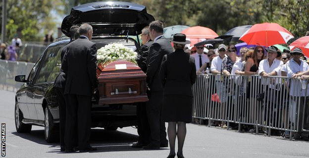 Phillip Hughes's casket arrives at his funeral