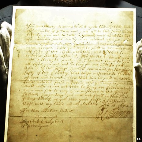 The handwritten order for the massacre of Glencoe