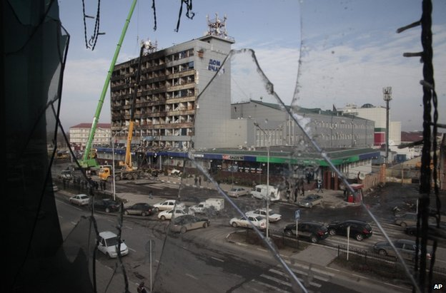 Charred publishing house in Grozny, 5 December