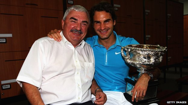 Roger Federer with his father Robert Federer