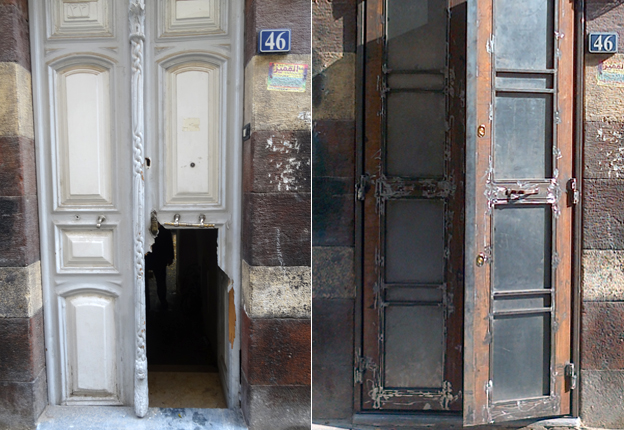 The old and the new doors to the house