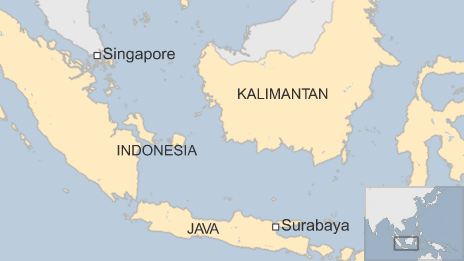 A map showing flight QZ8501's flight path