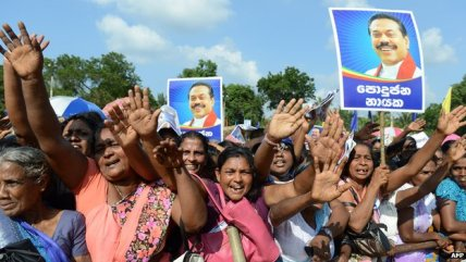Rajapaksa's followers at a rally in Vavuniya this week