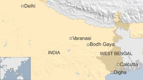 BBC map of Digha, Bodh Gaya and Varanasi in India