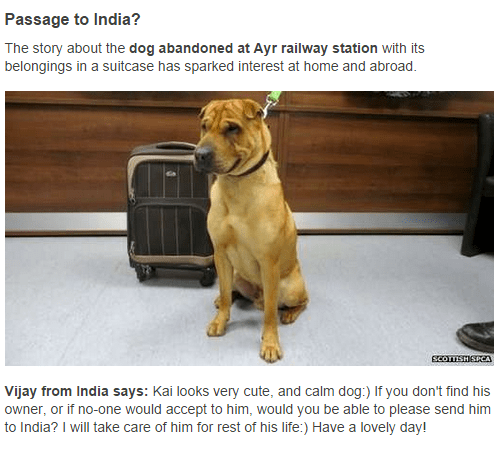 Message from Vijay in India offering to adopt Kai