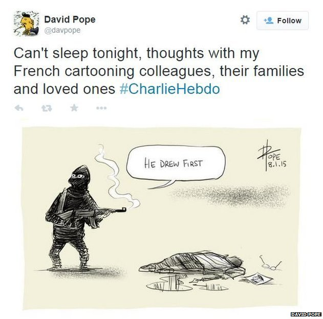 David Pope tribute to Charlie Hebdo workers