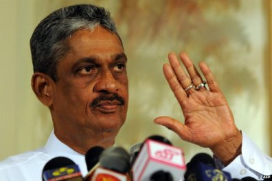 Former Sri Lankan army chief Sarath Fonseka addresses journalists in Colombo - 14 June 2012