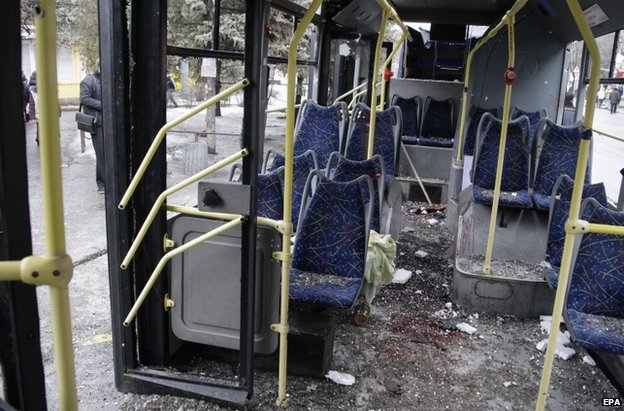 Bus hit by shelling in Donetsk, 22 January 2015