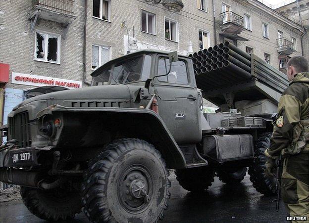 Grad rocket launcher, Donetsk 22 Jan 15