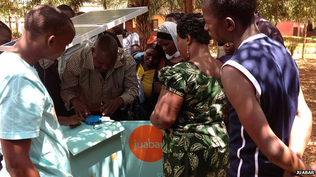 New solar kiosk entrepreneurs being trained by Juabar