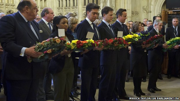 Sir Nicholas Soames, Nathania Ewruje, Labour leader Ed Miliband, Liberal Democrat leader Nick Clegg, Prime Minister David Cameron, Baroness D'Souza and Speaker of the Commons John Bercow during a memorial service for Sir Winston Churchill in Westminster Hall, London