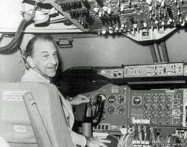 JRD Tata in a cockpit