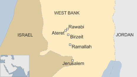 Map showing the location of Rawabi