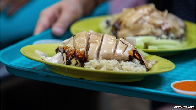 The Tian Tian chicken rice dish is photographed at the Maxwell Food Centre on 5 July 2013 in Singapore.