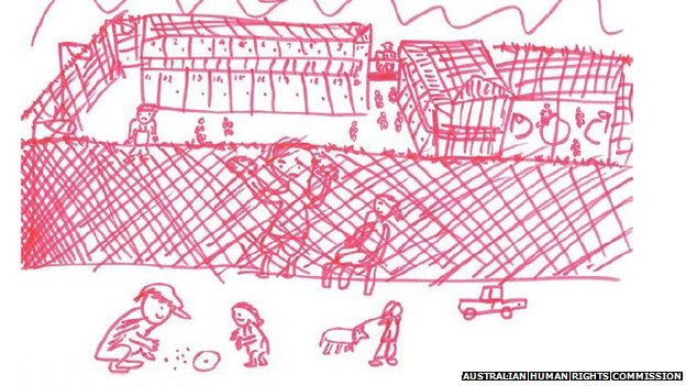 Drawing by migrant child in a detention centre which features in the Human Rights Commission report