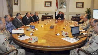 President Sisi chairs a meeting of Egypt's national defence council in Cairo. 15 Feb 2015
