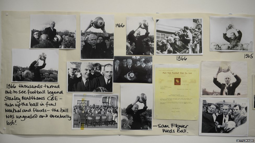 Historical pictures are displayed in the town hall before rival teams the 'Up'ards and Down'ards' battle for the ball in the annual Shrove Tuesday 'no rules' football match on February 12, 2013, in Ashbourne, England.