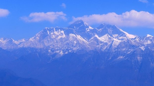 An aerial view of Mount Everest mountain range