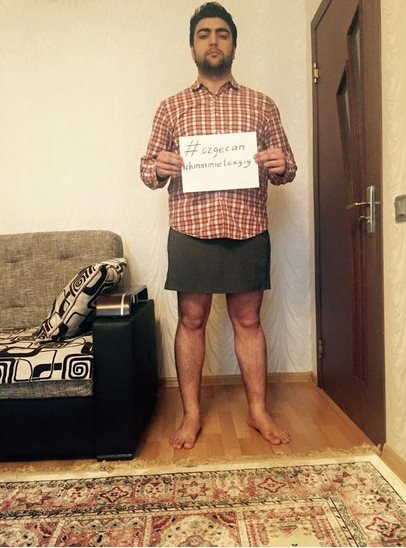 Men in mini skirts campaign