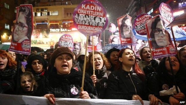Women shout slogans and hold a portrait of 20-year-old Ozgecan Aslan during a demonstration in Ankara on 16 February 2015