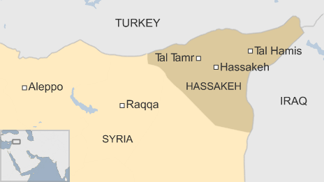 Map showing Tal Tamr and Hassakeh province in Syria