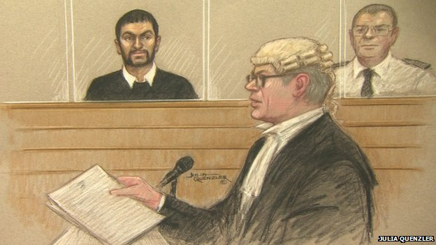 Court sketch of Erol Incedal