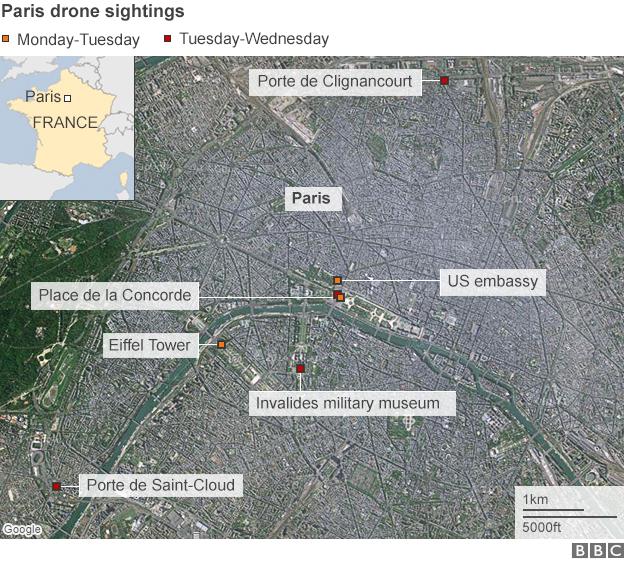 Map showing Paris drone sightings