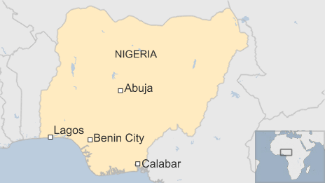 Map of Nigeria showing location of Benin City