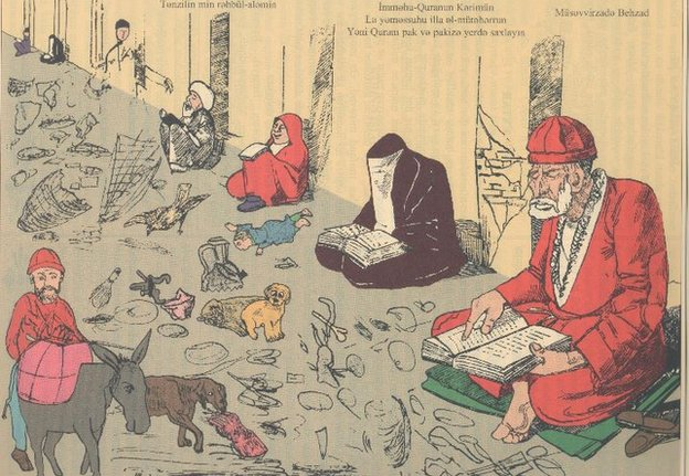 """""""Keep the Holy Koran in a clean place"""" – the cartoon was describing a child, dogs and other creatures treated as dirt vs Koran in peoples' hands."""