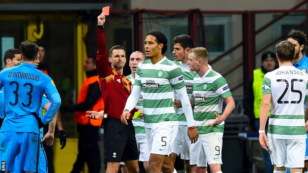 Virgil van Dijk is sent off by Slovakian referee Ivan Kruzliak