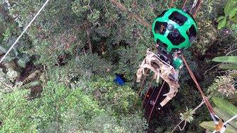 Google's Street View (Trekker) camera on a zip wire in the Amazon rainforest
