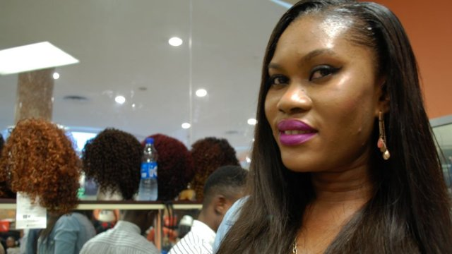 A customer at Bruno's Place hair salon in Ikeja Mall in Lagos, Nigeria