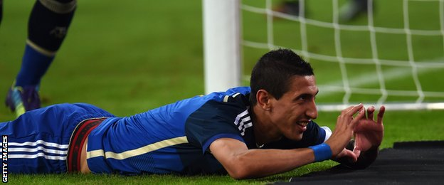 Angel Di Maria celebrates his goal against Germany
